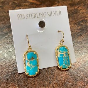 Turquoise Stone Earrings Dangle Gold 925 Silver